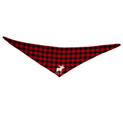 red and black buffalo plaid bandana for dogs with moose graphic