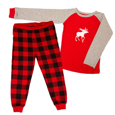 Red and black buffalo plaid family pajamas with Canadian Moose graphic