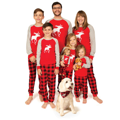 Matching red and black plaid pajamas for the whole family-adults, kids, doll and dog