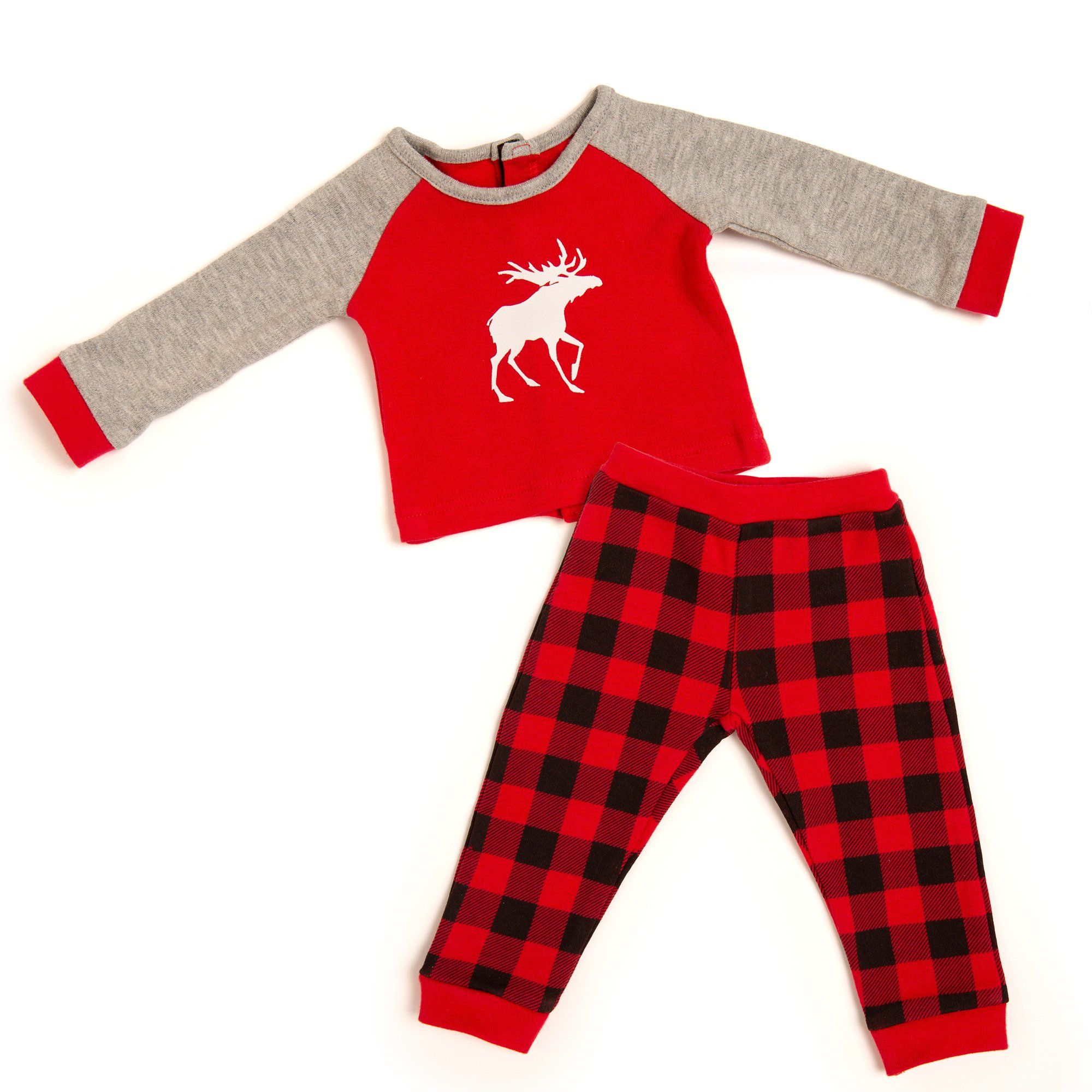 red and black buffalo plaid pjs for 18 inch dolls