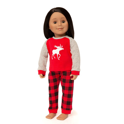 18 inch doll wearing Canadian moose pajamas