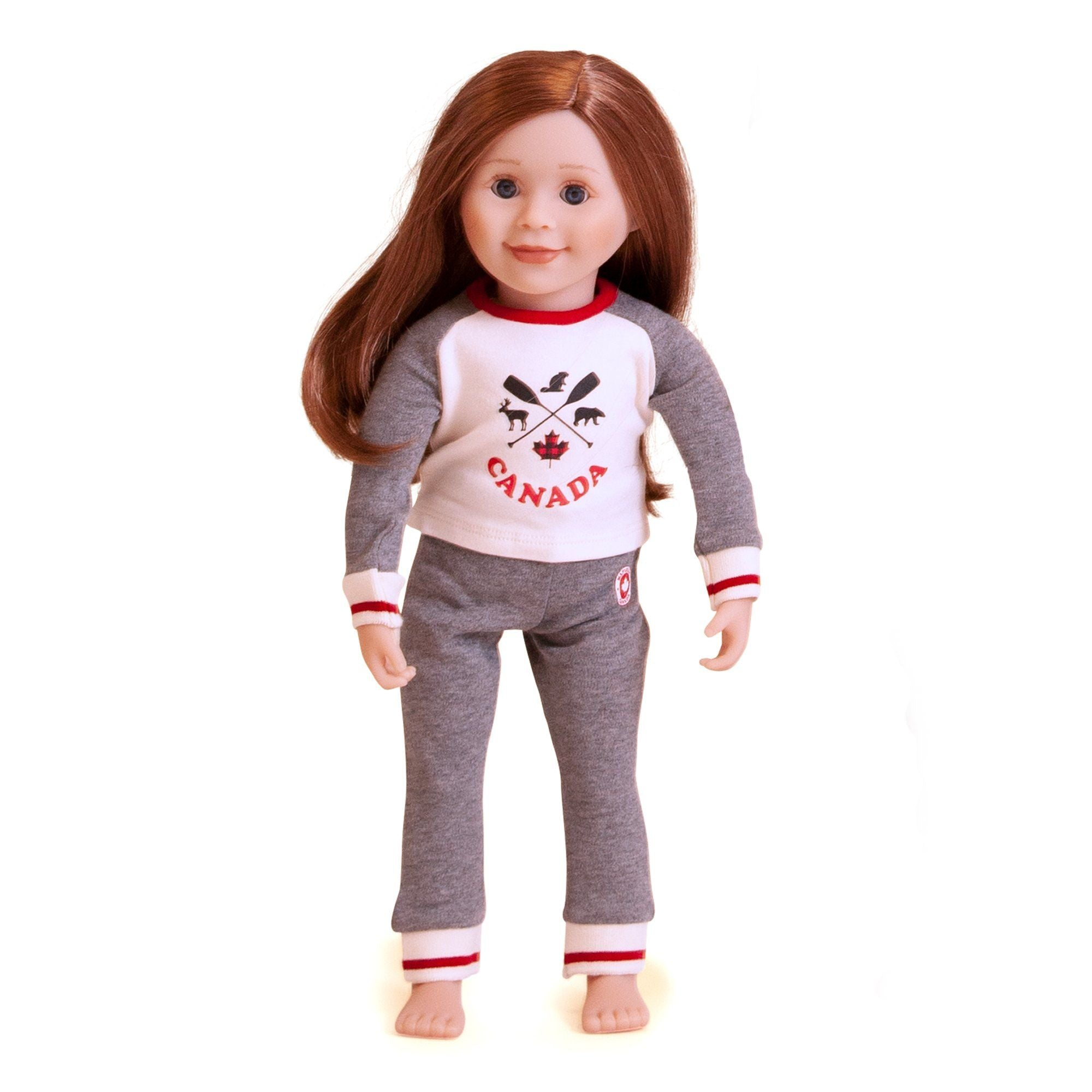 18 inch doll wearing pajamas, grey with red stripe on cuff