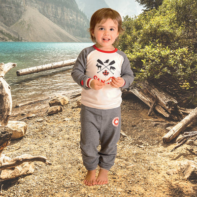 Toddler child wearing iconic Canadian PJs bu Maplelea