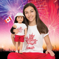 Canada Day Shirt for Girls on a fireworks background.