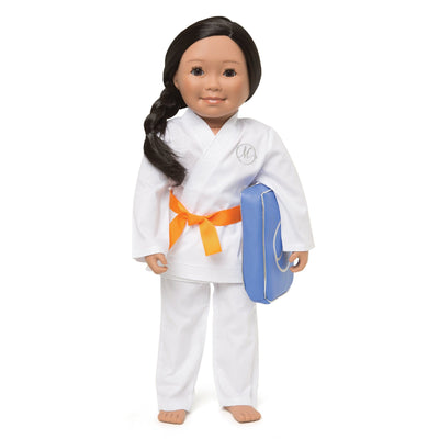 Karate set for 18 inch dolls white cotton gi jacket pants 9 coloured belts and kick pad