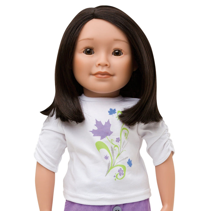 KMF10 Maplelea Friend with shoulder length dark brown hair, medium-light skin, brown almond-shaped eyes