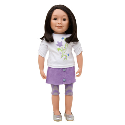 KMF10 Maplelea Friend with shoulder length dark brown hair, medium-light skin, brown almond-shaped eyes.