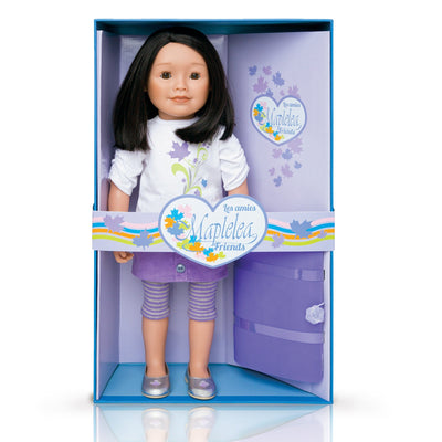 KMF10 Maplelea Friend with shoulder length dark brown hair, medium-light skin, brown almond-shaped eyes. Shown in box.