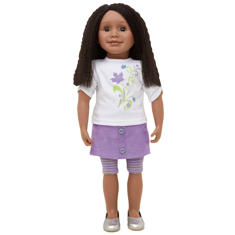 KMF12 Maplelea Friend with shoulder-length textured black-brown hair, dark skin, brown eyes