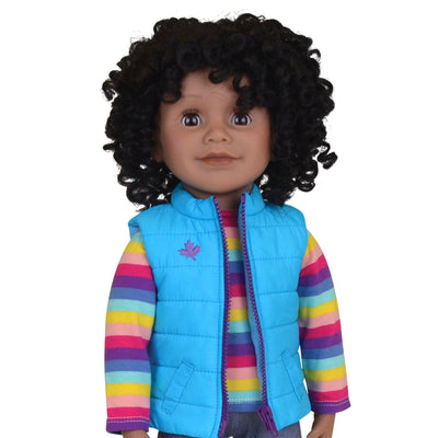 Maplelea 18 inch doll with short curly black-brown hair, dark skin and brown eyes