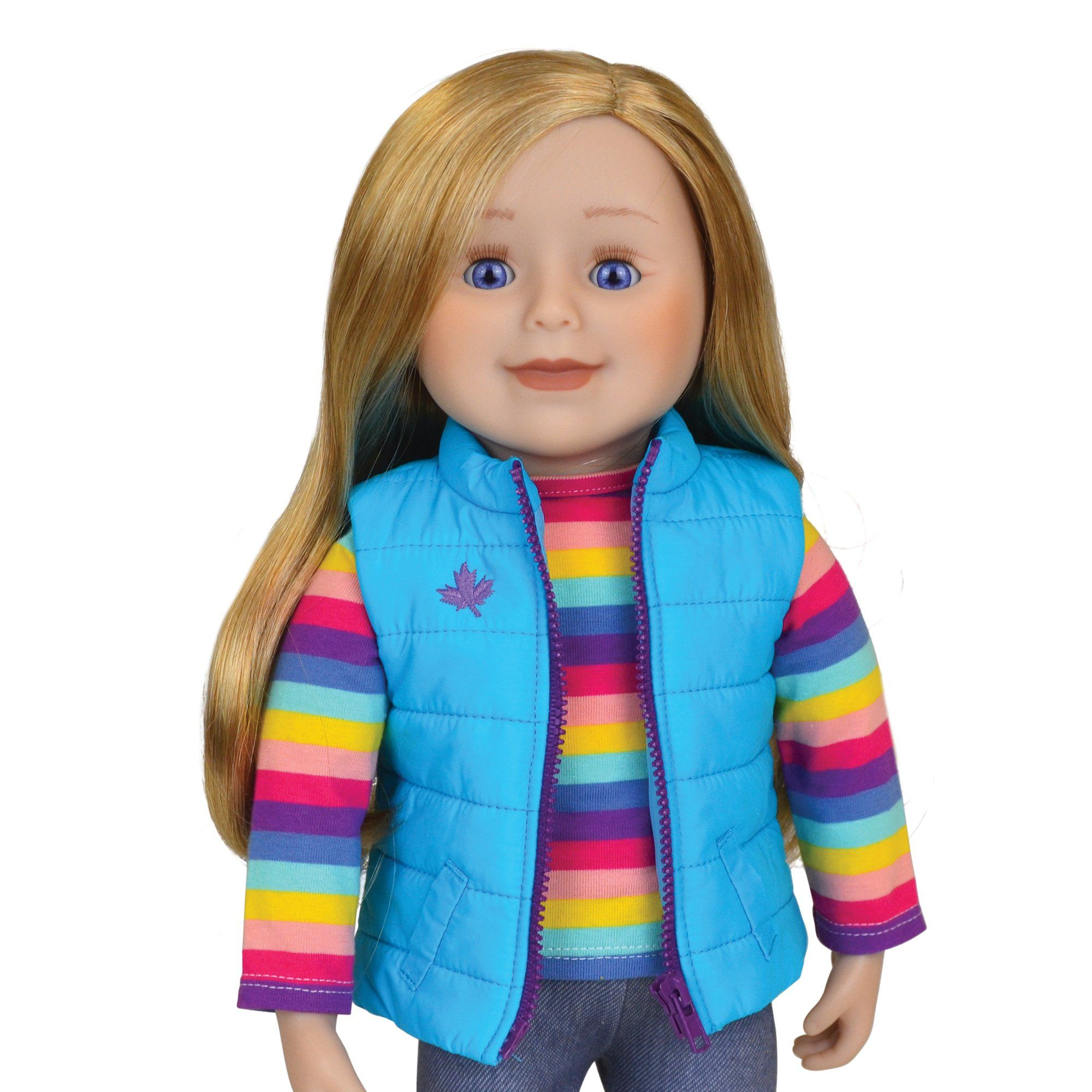 18 inch Maplelea doll with blonde hair and blue eyes