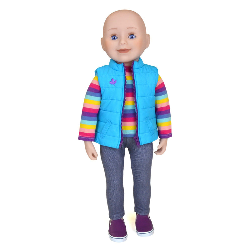 18 inch Maplelea doll with no hair, blue eyes and fair skin