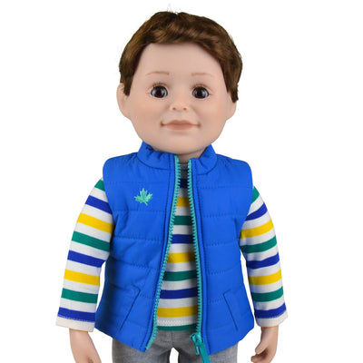 18 inch Maplelea boy doll with brown hair and brown eyes and fair skin