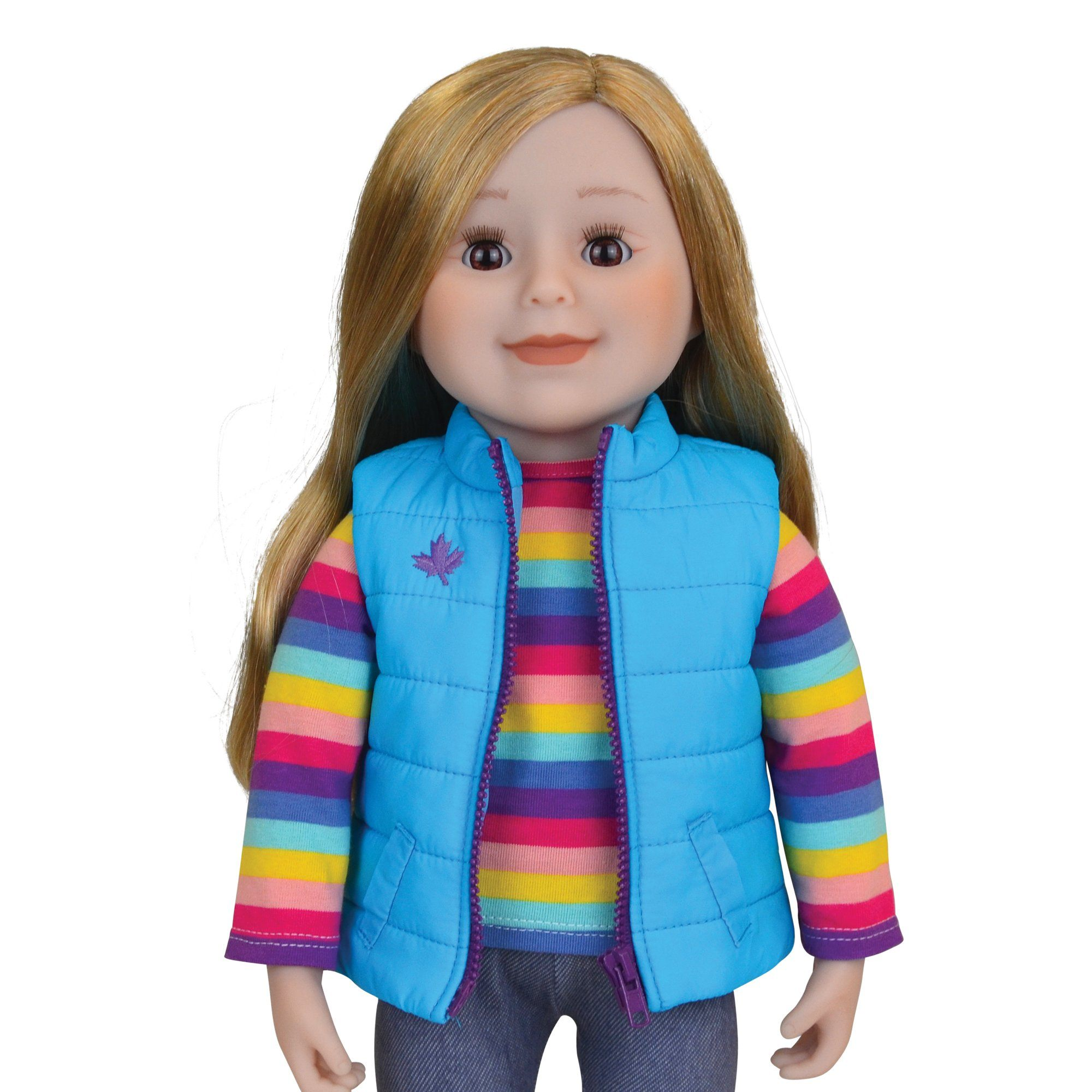 Maplelea 18 inch doll with long blonde blond hair brown eyes and light skin
