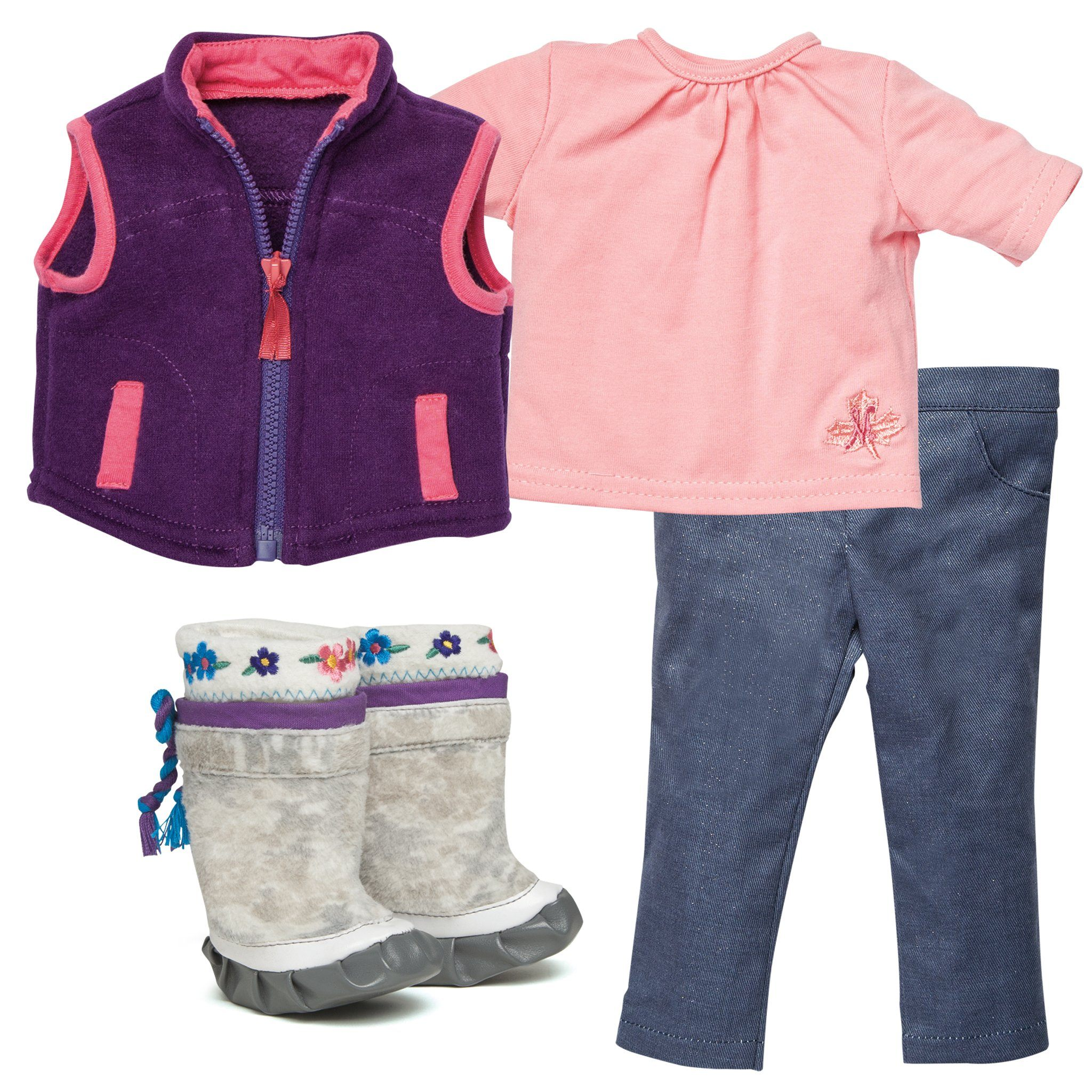 Maplelea doll Saila starter outfit sparkly jeans, purple fleece vest, pink t-shirt and kamiik boots. KS1.