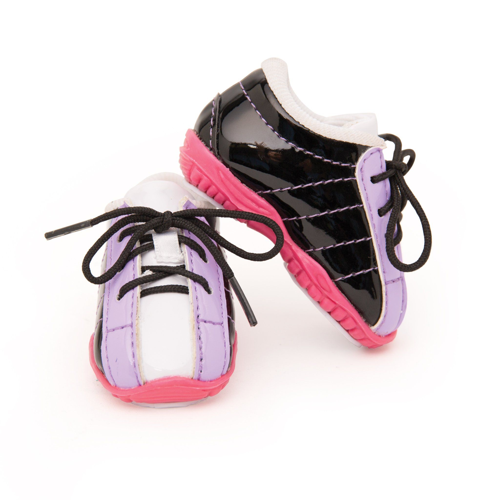 Black, purrple and pink curling shoes included in curling play set. Fits all 18 inch dolls.