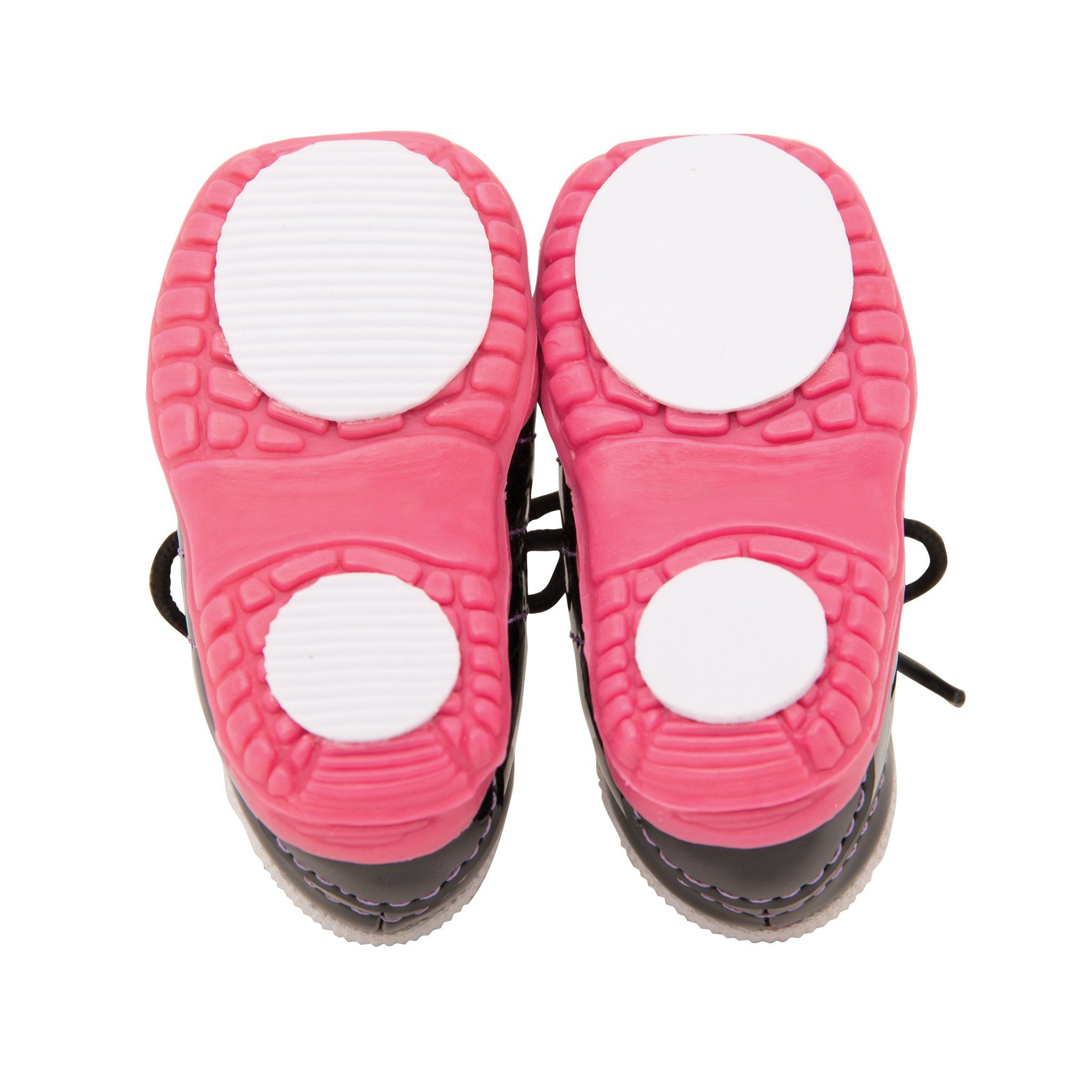 Curing play set curling shoes soles - showing gripper and slider soles. Fits all 18 inch dolls.