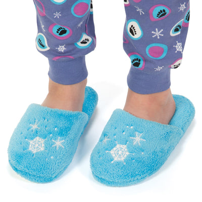 Blue fluffy slippers for girls
