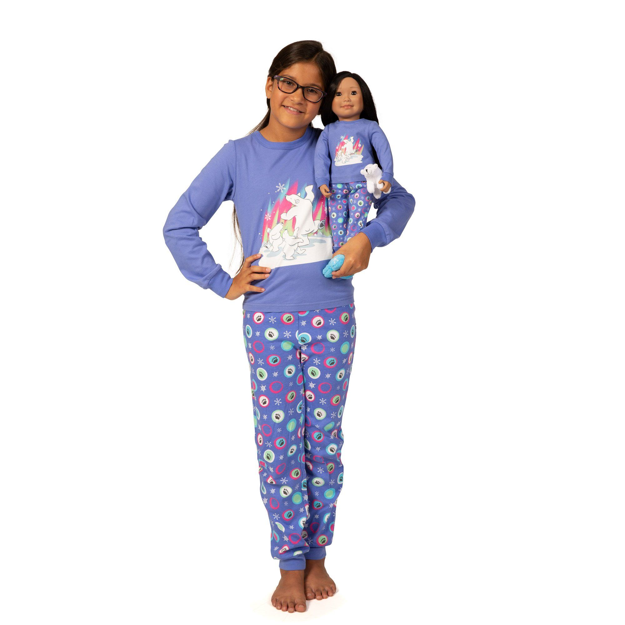Dress alike doll and girl pajamas