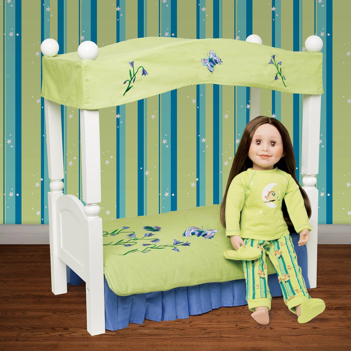 Green and purple Butterfly Bedding canopy for Maplelea doll Taryn - fits KM1 doll bed. Shown in Taryn's bedroom.