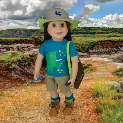 18 inch doll dressed to hunt dinosaurs in Alberta Badlands