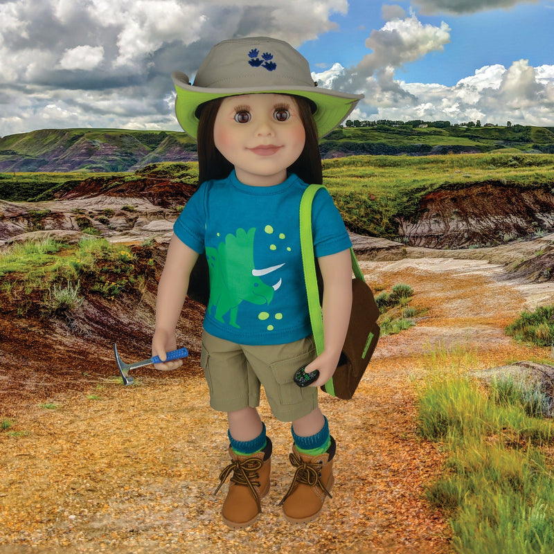 18 inch doll paleontologist dinosaur t-shirt safari hat khaki shorts socks geology hammer canvas bag skeleton models field journal magnifying glass compass