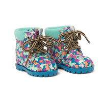 Colourful butterfly hiking boots fits all 18 inch dolls.