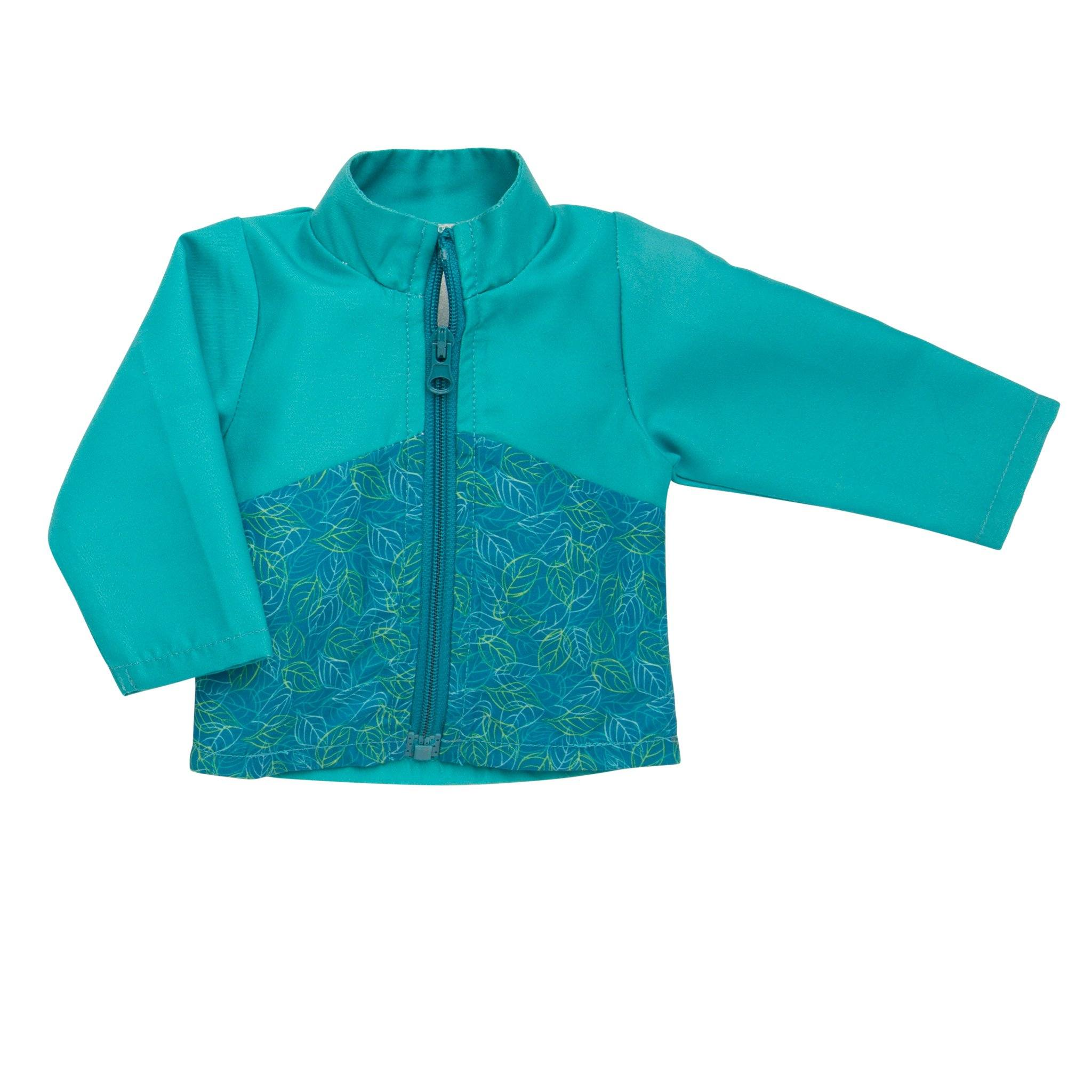 Teal nylon windbreaker with leaf pattern fits all 18 inch dolls.