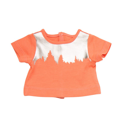 Coral and silver treeline printed shirt fits all 18 inch dolls.