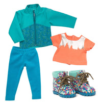 Teal nylon windbreaker with leaf pattern, coral and silver treeline printed shirt, teal knit leggings, colourful butterfly hiking boots fits all 18 inch dolls.