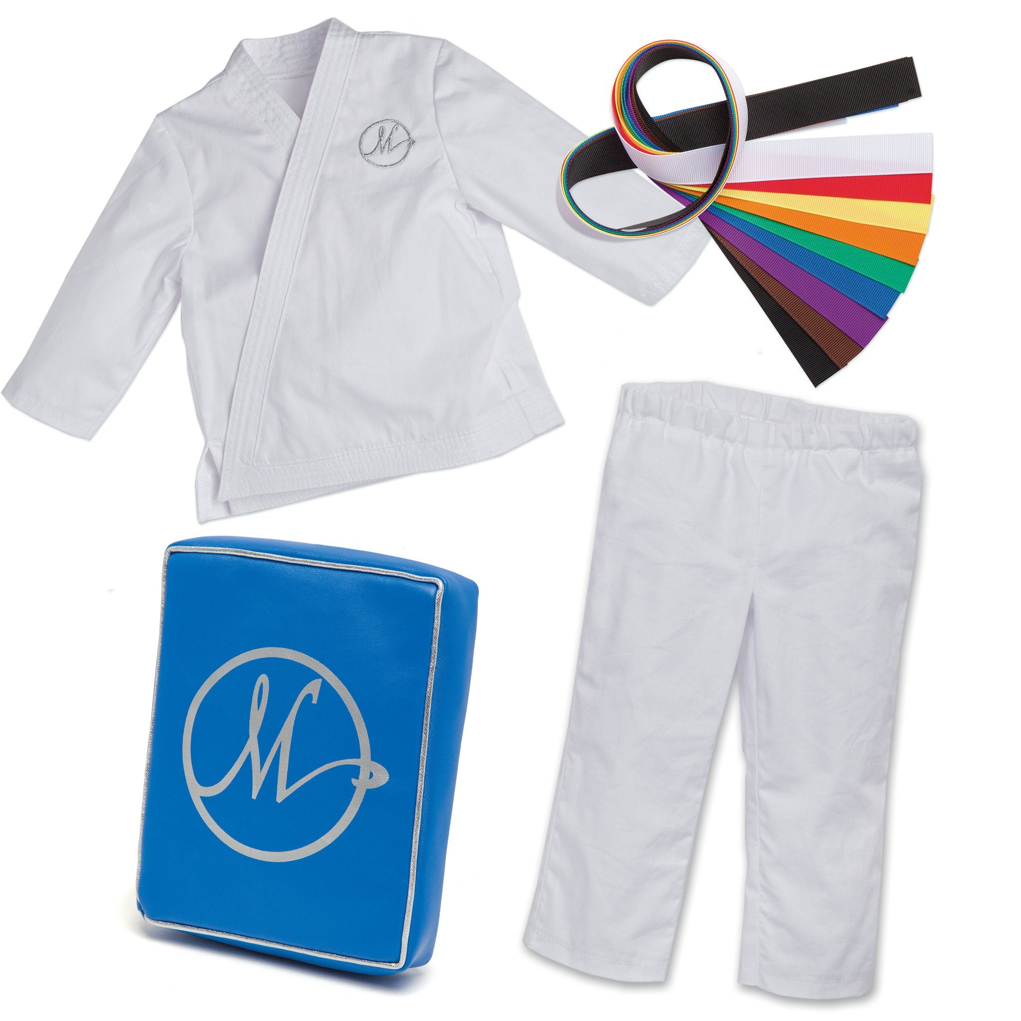 Karate Kicks gi white jacket and pants, with 9 coloured belts, and a blue kickpad fits all 18 inch dolls.