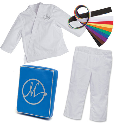 Karate Kicks gi white jacket and pants, with 9 coloured belts, and a blue kickpad fits all 18 inch dolls