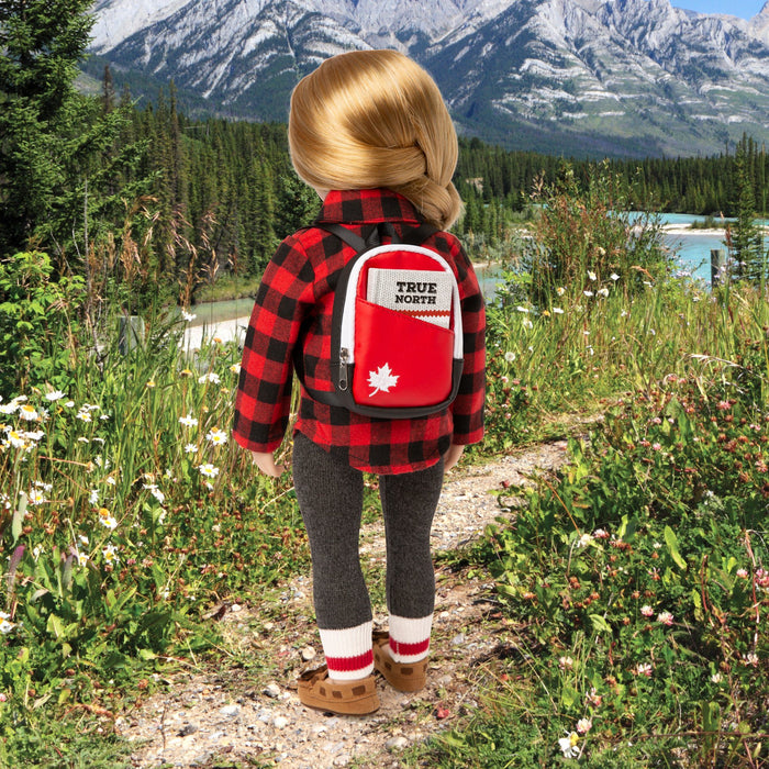"18"" doll high-quality Canadian backpack with an embroidered maple leaf and notebook."