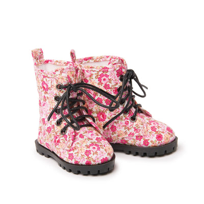 Floral lace-up boots for all 18 inch dolls.