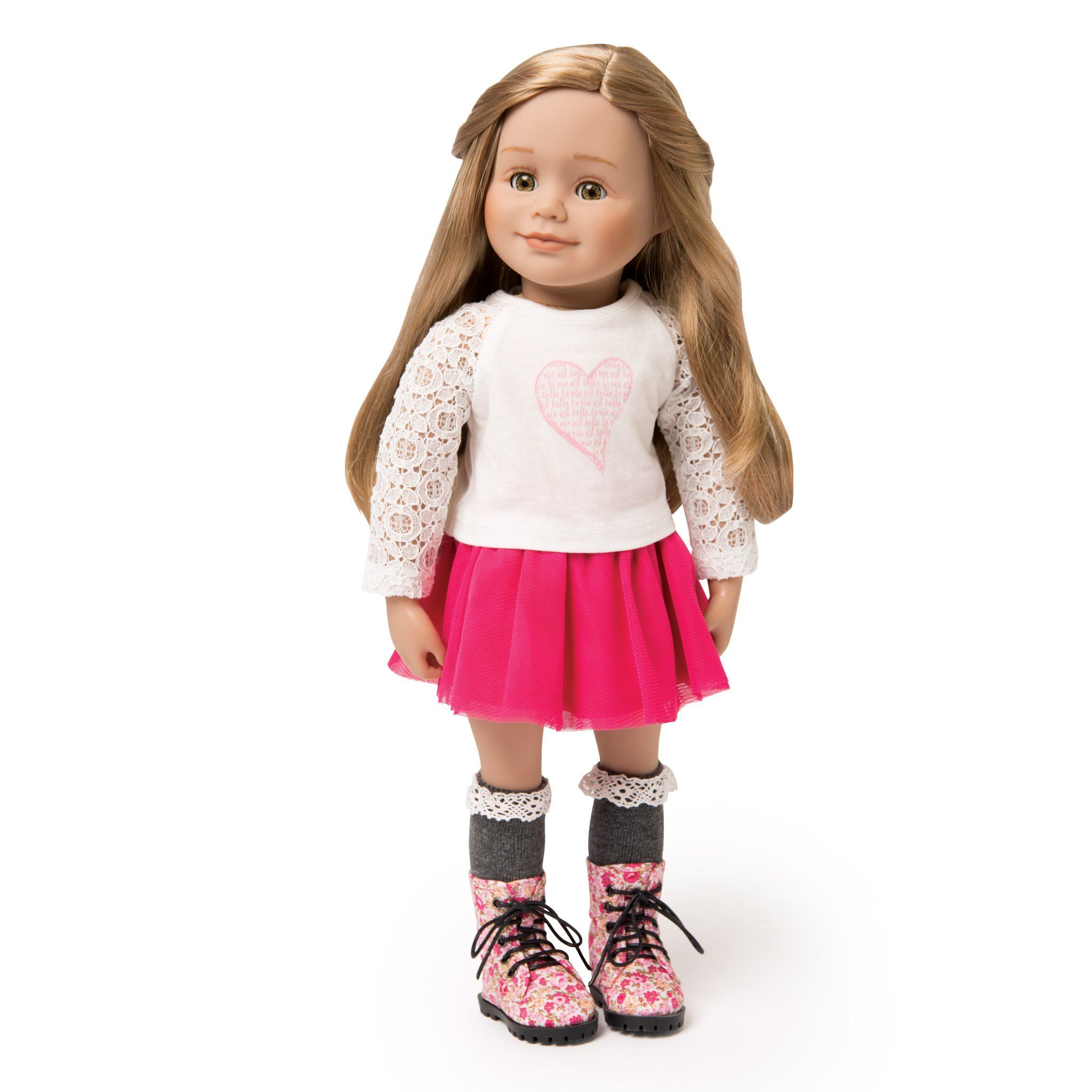 White lace top with heart graphic pink mesh skirt, grey knee-socks, floral boots on 18 inch doll.