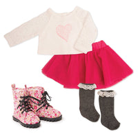 White lace top with heart graphic, pink mesh skirt, knee-socks, floral  boots for 18 inch dolls.