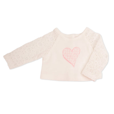 White lace top with heart graphic for all 18 inch dolls.