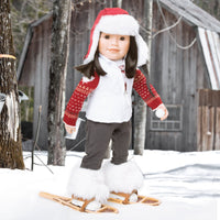 "Maple Cabin Lodge fluffy white boots winter boots shown on 18"" Maplelea doll with snowshoes, beaver."