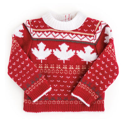 Canadian red knitted sweater with maple leaf pattern fits all 18 inch dolls.