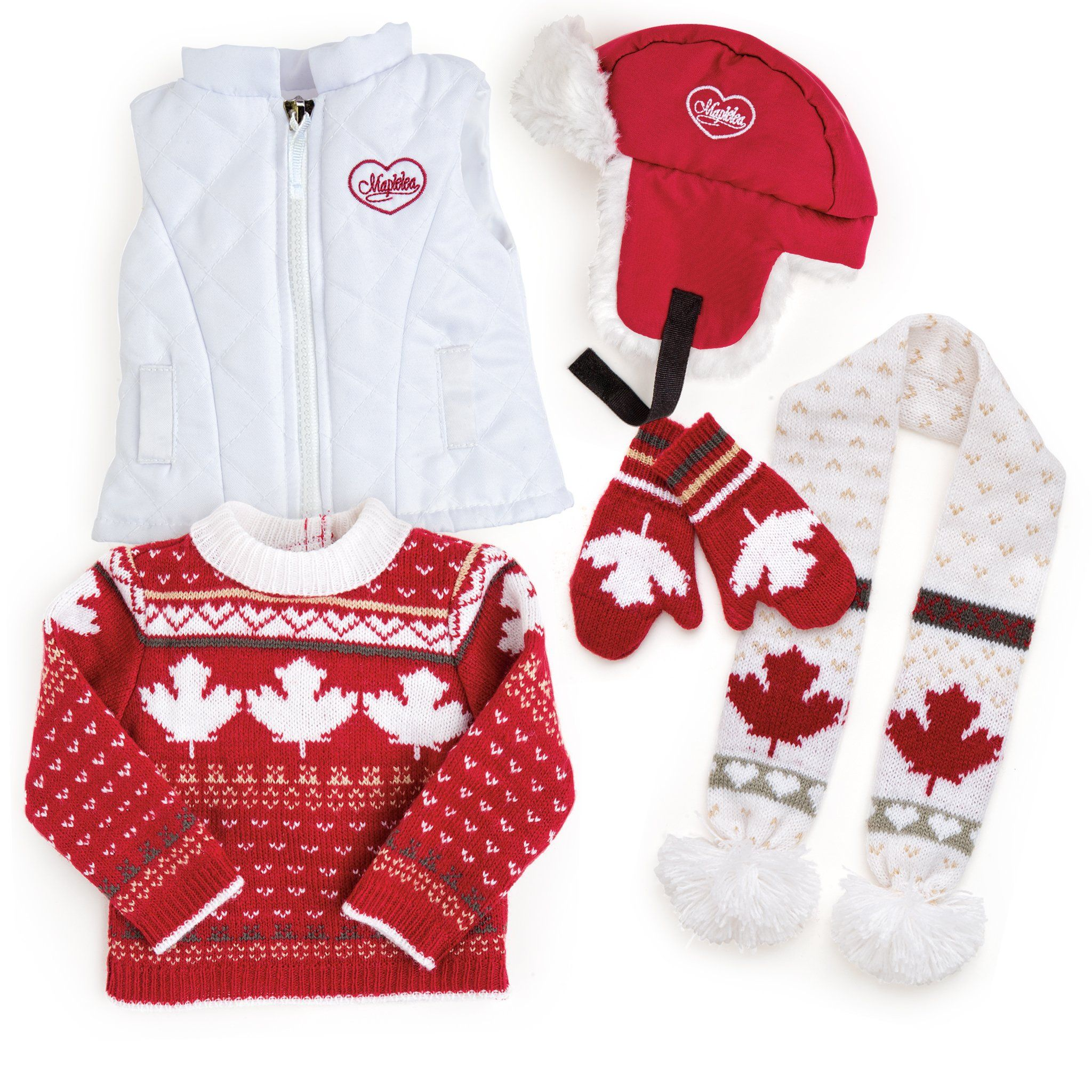 "Canadian accessories include scarf, trapper hat, vest, mapleleaf sweater, mittens fit all 18"" dolls."