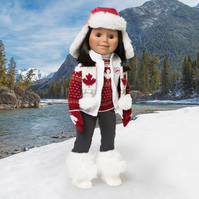 "Canadian accessories include scarf, trapper hat, vest, mapleleaf sweater, mittens shown on 18"" doll."