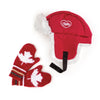 Maple Cabin Lodge Canadian red trapper hat and red knit mittens fits all 18 inch dolls.