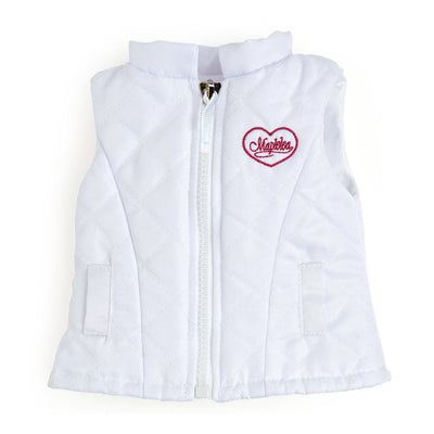 Maple Cabin Lodge Canaidan white quilted vest  fits all 18 inch dolls.