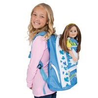 Maplelea girls' blue backpack fits all 18 inch dolls with model
