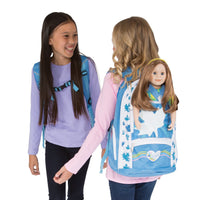 Maplelea girls' blue backpack fits all 18 inch dolls with models