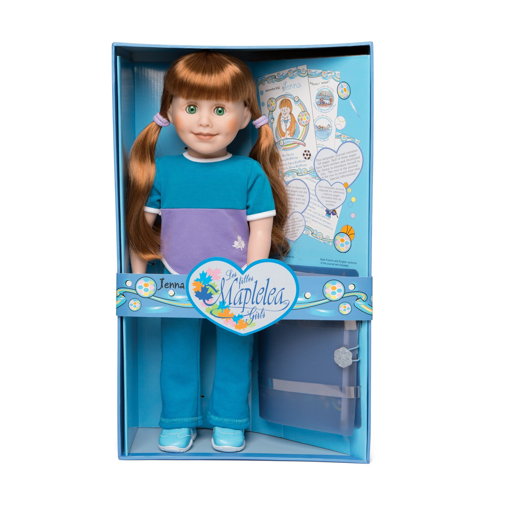 Maplelea 18 inch doll Jenna wearing blue track pants, purple and blue colour block t-shirt, blue running shoes and white athletic socks. Shown in collector box.