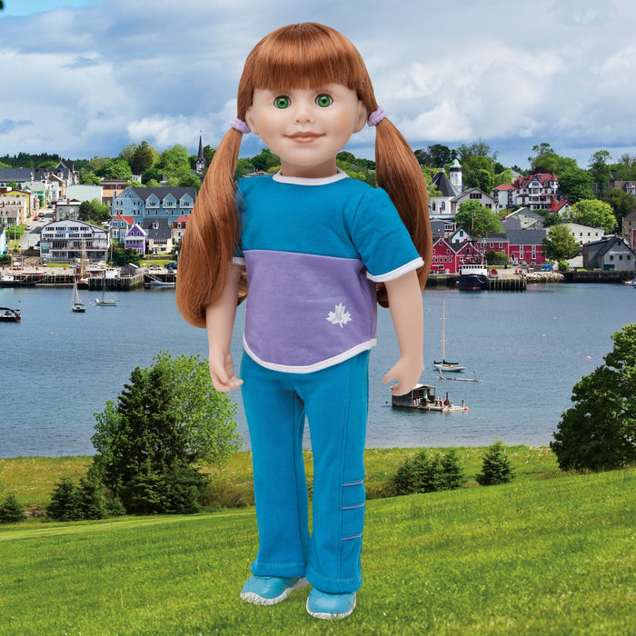 Maplelea 18 inch doll Jenna wearing blue track pants, purple and blue colour block t-shirt, blue running shoes and white athletic socks.
