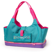 Maplelea Doll Tote teal, pink and purple carrier bag carries two 18 inch dolls.