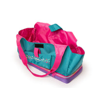 Maplelea Doll Tote teal, pink and purple carrier bag for girls. Carries two 18 inch dolls.
