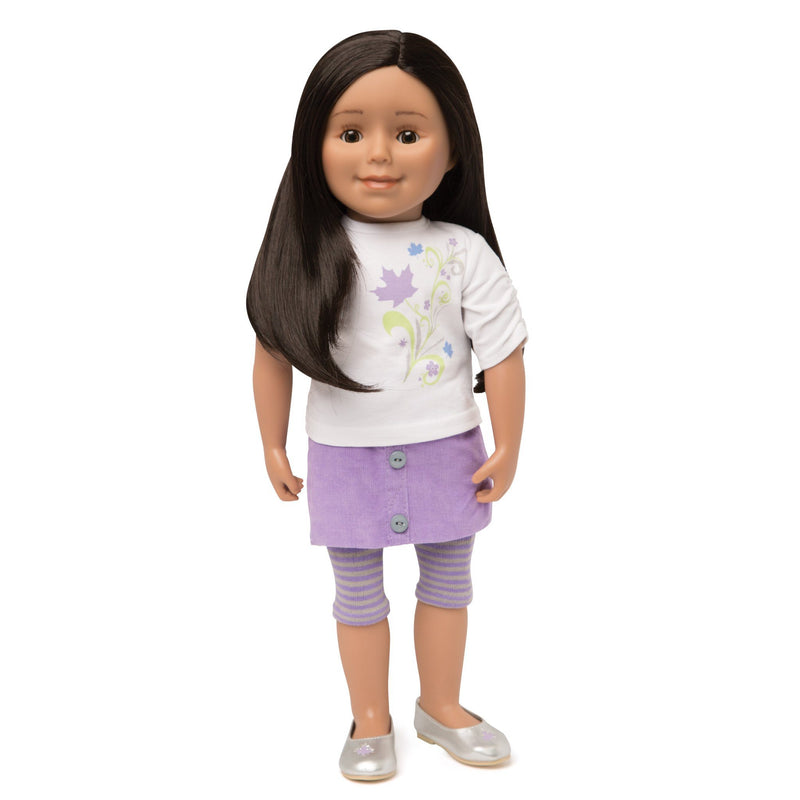 KMF19 Maplelea Friend 18 inch doll with long black-brown hair, medium skin, brown eyes